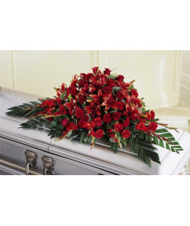 The Red Splendor Casket Spray