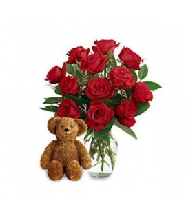 Twelve Premium Long Stemmed Roses with a Bear