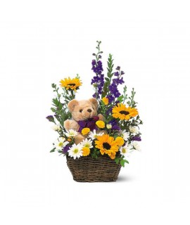 Flowers with a Plush Bear