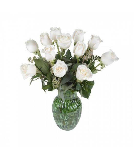 The 12 white roses arrangement