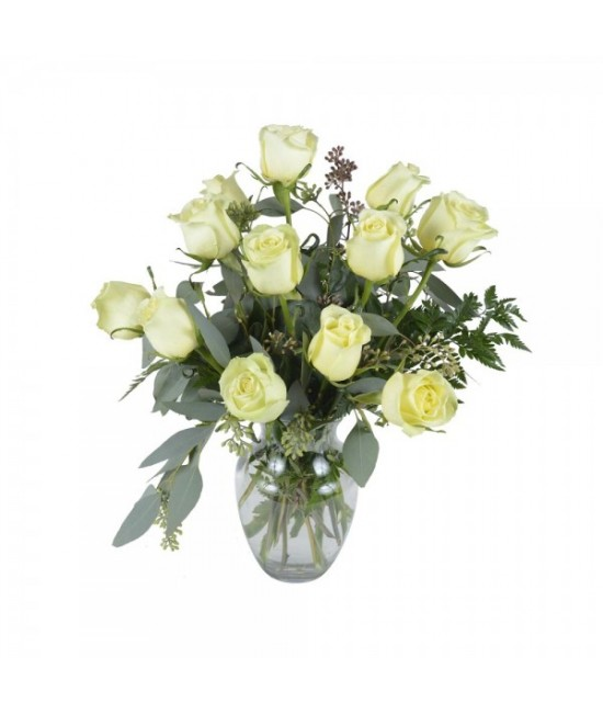 The 12 green roses arrangement