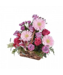 The assorted pink bouquet