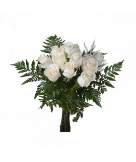 White roses by the dozen